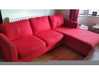 John Lewis red 'L-shaped' sofa