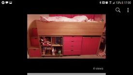 Girls cabin bed with under storage and storage in steps