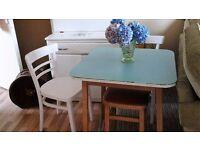 vintage table pale blue .