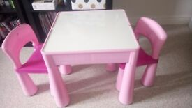 Pink 2 seater table with chairs