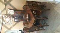 Antique dining table, china cabinet & buffet table