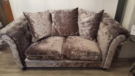 Beautiful Silver Crushed Velvet 2 Seater Sofa