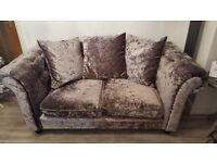 Beautiful Silver Crushed Velvet 2 Seater Sofa and Armchair
