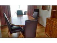 Dining room set, solid oak, Aldridges (table, chairs & Welsh Dresser)