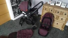Graco evo pushchair and carseat in plum