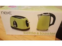 New/never been used next lime green kettle and toaster. Selling for £40 ONO