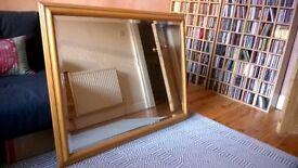 Large Wood Finish Wall Mirror