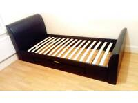 Leather single bed frame with underneath storage