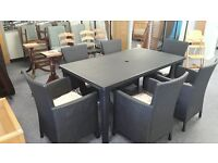 6 SEATER GARDEN TABLE WITH 6 CHARCOAL RATTAN EFFECT CHAIRS CAN DELIVER