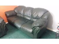 Green leather sofa set - One 3 seat and 2 single seats