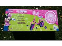 New girls disney minnie bow-tique bike with stabilisers 2 available great for summer built or boxed