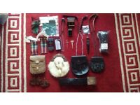 COLLECTION OF Vintage Original Scottish Kilt Sporran Fur & Leather Pouches with lots of accessories
