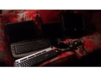 3x Dell monitors al fully working with extra ports 2x keyboards and a mouse