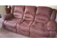 Lounge suite, 3 seater, 2 seater and recliner chair