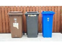 Pair of full size black and brown bins in good condition for sale.