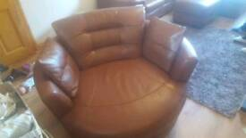 Dfs brown leather swivel chair
