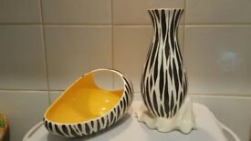 2 beautiful 1930 zebra stripe Beswick Vases