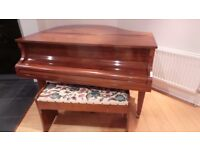 Baby Grand Piano, Challen, British made, with Hand crafted Embroidered storage stool