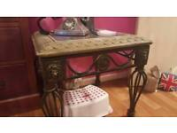 SOLID IRON/GLASS TABLE