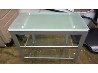 steel and glass tv stand