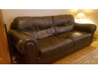 Free Large Brown Leather Sofa/ Couch
