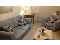 3 seater sofa and arm chair light blue in good condition. from a pet and smoke free home