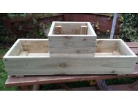 NEW 1-2-1 FLOWER BOX, WOODEN PODIUM PLANTERS, MANY COLOURS, QUALITY HANDMADE