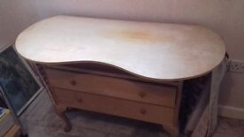 VINTAGE KIDNEY SHAPED DRESSING TABLE WITH REMOVABLE MIRRORS AND CURTAIN AROUND