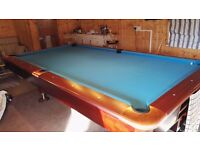 5 x 9 slate bed pool/snooker table blue cover excellent condition