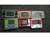 6x Game & Watch Consoles! 3x Nintendo(Mickey Mouse, Snoopy Tennis, Turtle Bridge) + 3 others.