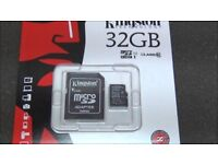 32GB NEW Micro SD SDHC Memory Card for Phone Camera Class 10 with Adaptor Kingston OR Sandisk