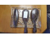 Set of Three Art Deco Tortoise Shell Brushes in Glass Tray in Good Condition