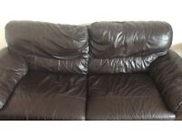 Brown leather double sofa from dfs