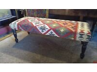 Kilim footstool coffee table upholstered in handmade persian jajim style kilim ottoman surrey london