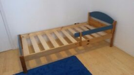 Single Bed frame with sideboard - blue and pine