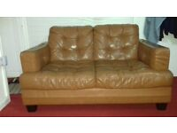 Brown sofa and small seat