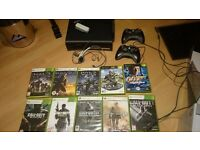 Xbox 360 120GB Elite + 10 games, two controllers, plug and play, wireless adapter