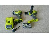 Ryobi drill r18pd with impact driver and 5ah bat