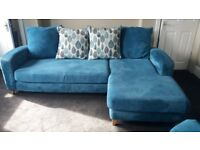 Left hand corner chaise sofa and xl cuddle chair and puffy.