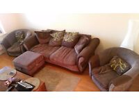 DFS 3 Seater sofa with accent chairs and storage pouffe