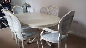 Beautiful shabby chic ext dinning table and chairs with laura Ashley fabric
