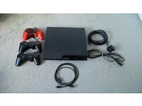 PS3 Slim with 3 controllers, 15 games and all wires