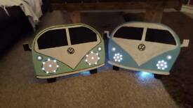 Wooden hand painted VW Camper van with lights