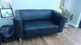Pre owned Black Leather sofas (2 & 3 seater)