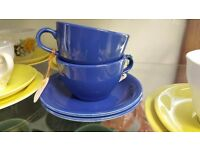 Set of Two Blue Teacups and Saucers in Good Condition