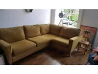Ochre fabric corner couch