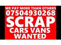 CARS VANS MOTORCYCLE WANTED SCRAP DAMAGED NON RUNNER NO MOT FAST CASH COLLECT TODAY