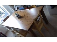 Ikea 'Forsby' solid pine table with assorted chair collection
