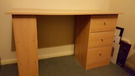 Beech Effect 3 Drawer Desk with Shelves *Collection Only*