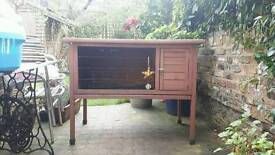Large outdoor guinea pig or rabbit hutch with accessories